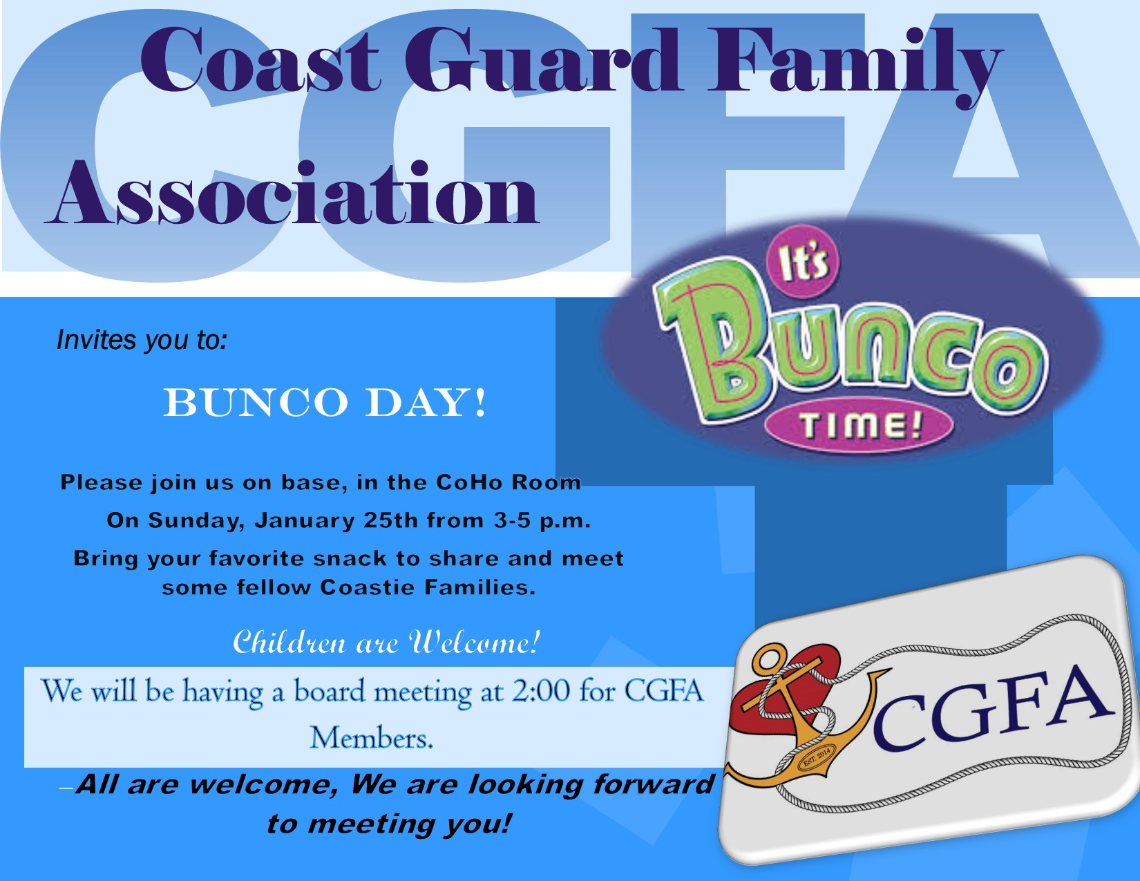 Bunco Game Day CGFA of Puget Sound